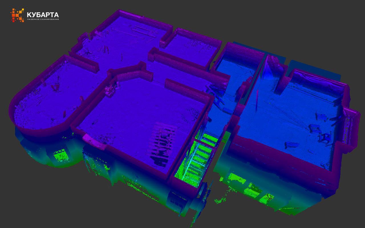 Лазерное сканирование коттеджа в Лисьем Носу облако точек